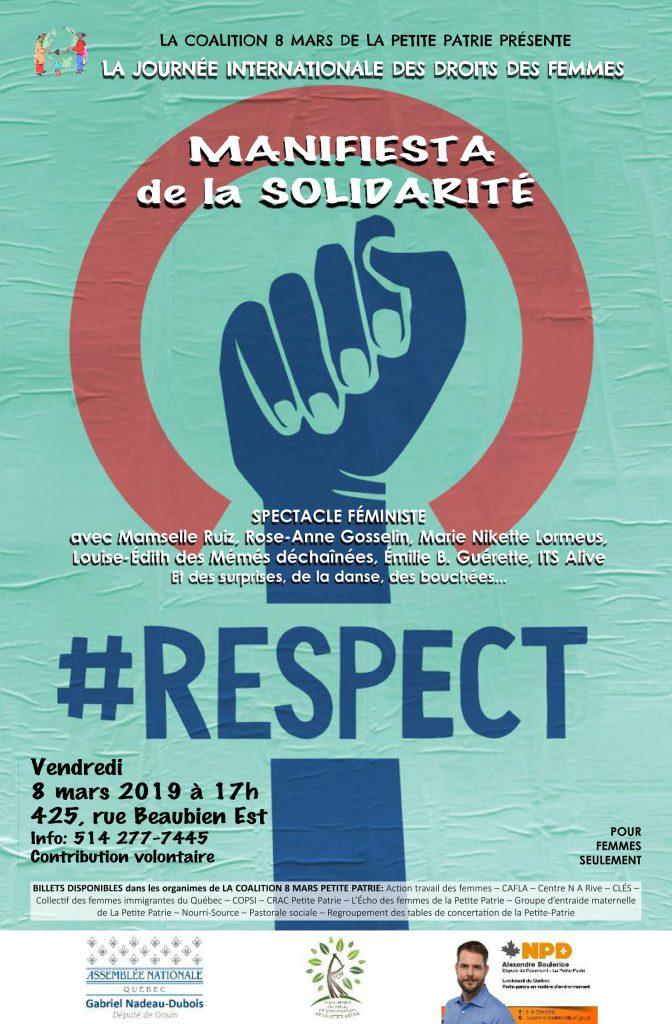 affiche du 8 mars 2019 organisé par le centre de femmes